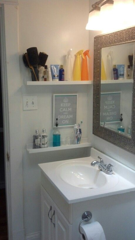 29 ideas to use ikea ribba ledges around the house digsdigs for Small bathroom ideas ikea