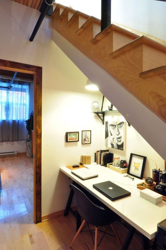 home office nook under the stairs