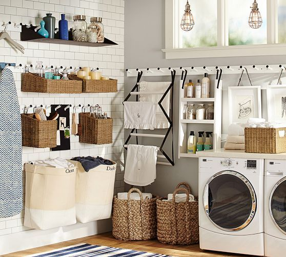 organizing laundry with laundry baskets is possible for any basement