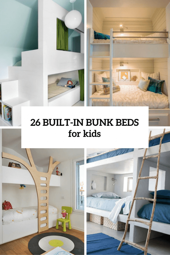 Simple  Cool And Functional Built In Bunk Beds For Kids