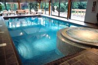 26 indoor pool inside a glass pavilion to feel outside