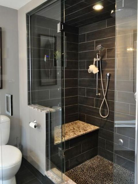 large black shower tiles