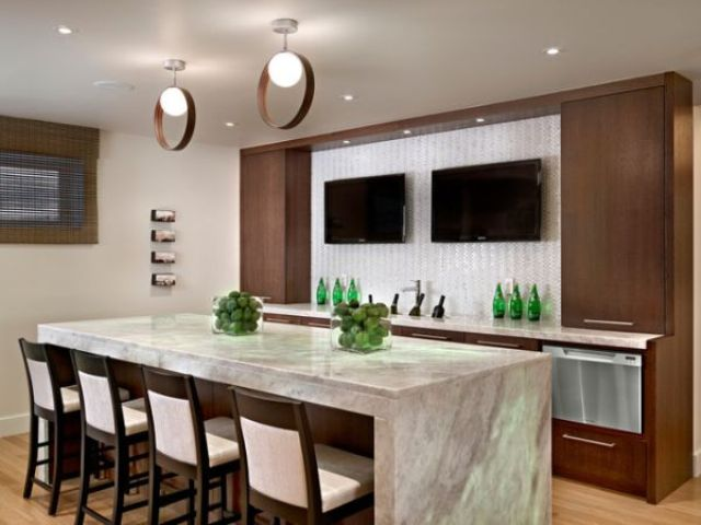 modern basement bar with a TV