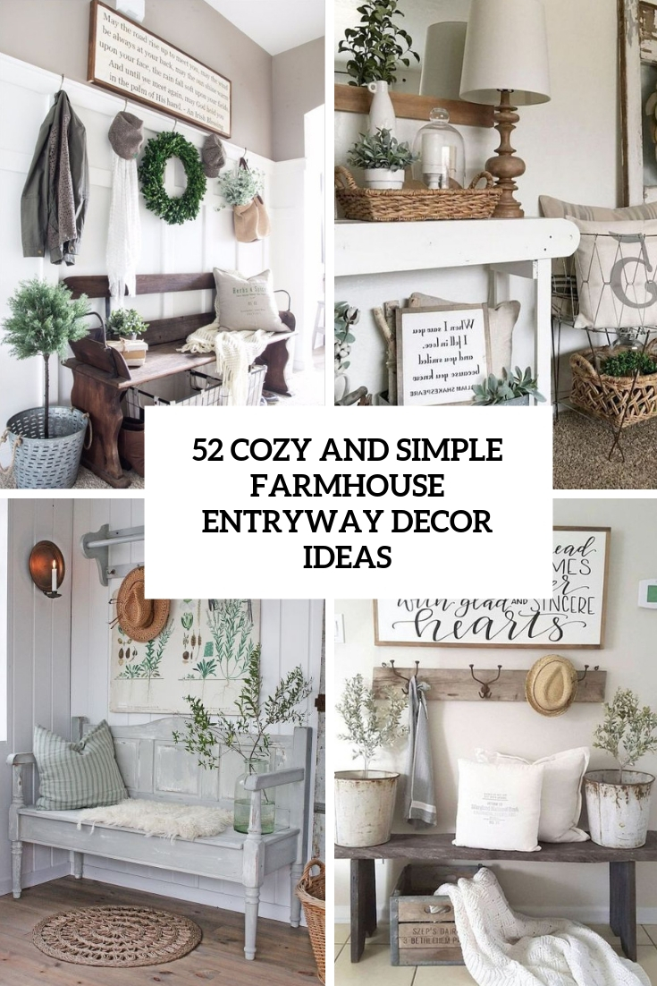 27 cozy and simple farmhouse entryway decor ideas cover