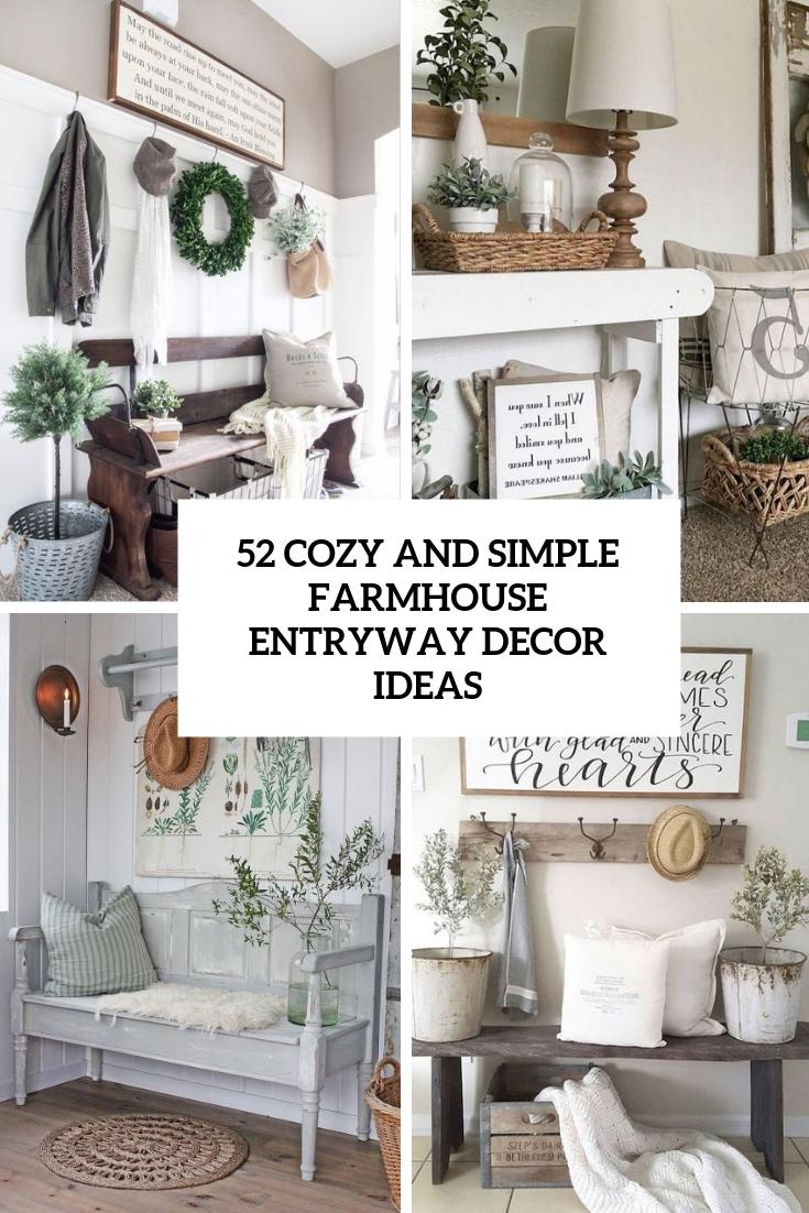 27 Cozy And Simple Farmhouse Entryway Décor Ideas