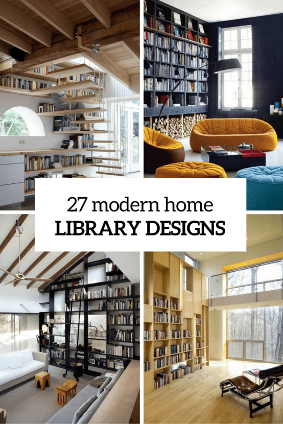 27 modern home library designs that stand out digsdigs for Modern house design books