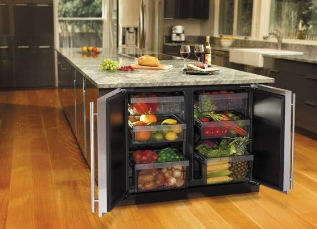 kitchen island with a fridge