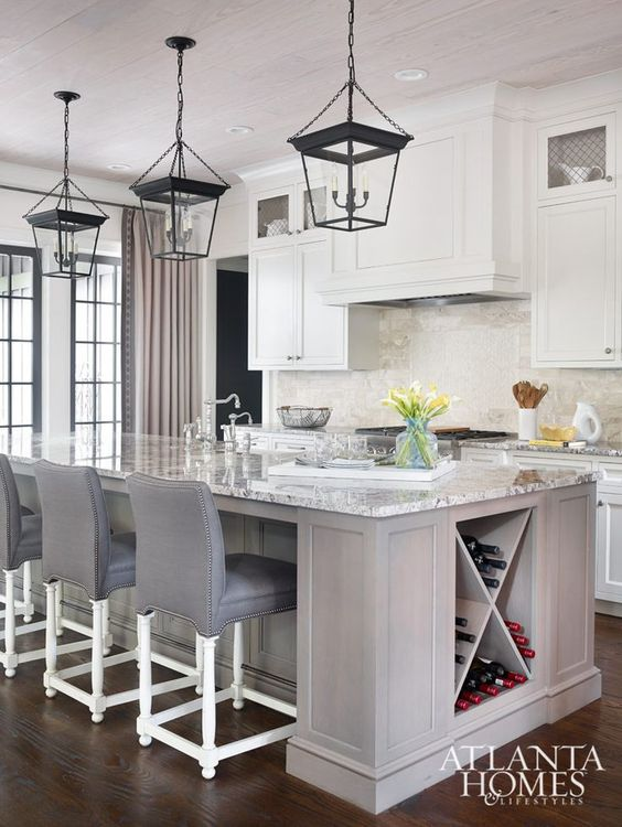 kitchen island with wine space