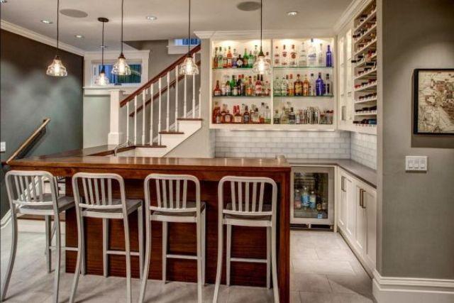 open shelving basement bar