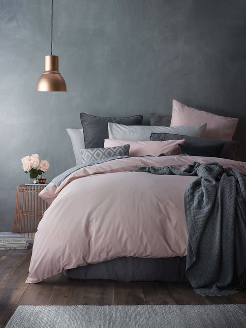Fabulous neutral bedding Blush with graphite grey is a fresh and modern bo with a contrast