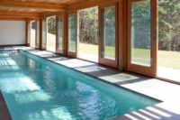 28 indoor swimming pool with doors that open to outside