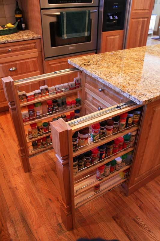 sliding drawers are perfect to store spices