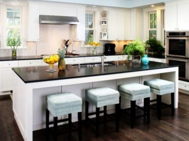 kitchen island with an eating counter top