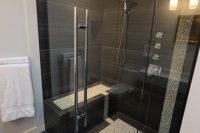 28 large scale black shower tiles