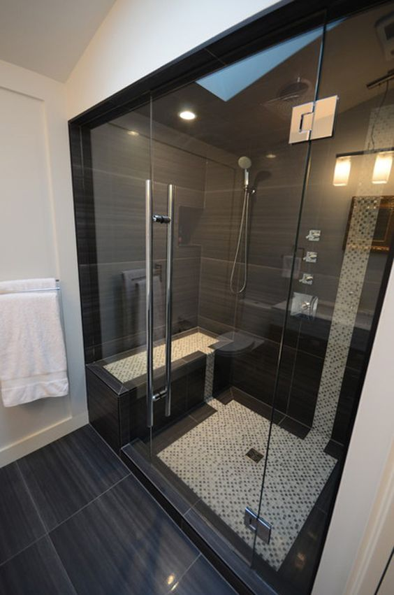 Large Scale Black Shower Tiles Awesome Design