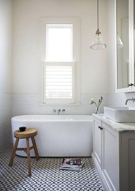 Black And White Patterned Bathroom Floor Tiles : Cool bathroom floor tiles ideas you should try digsdigs