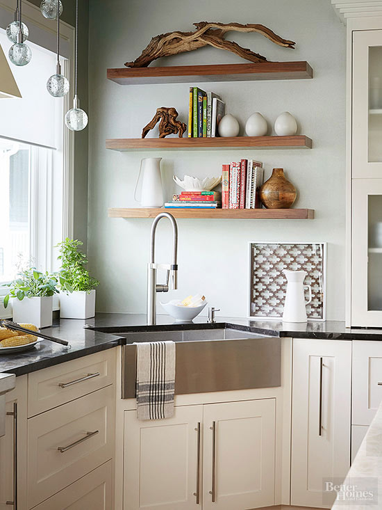 small kitchen corner shelving