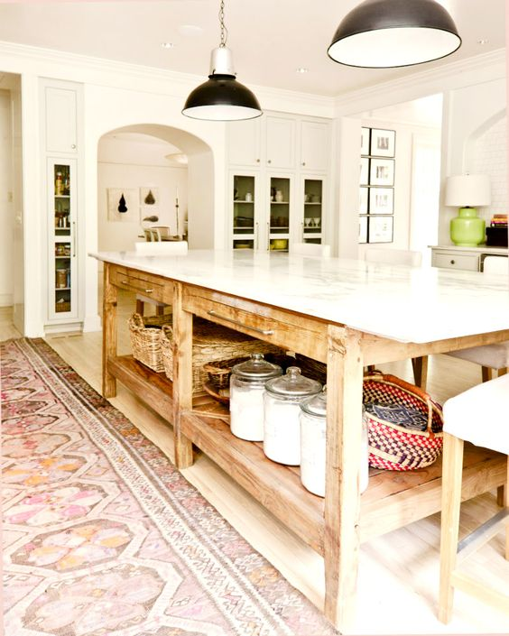 kitchen island with food storage space