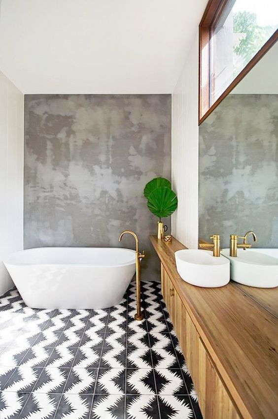 patterned black and white bathroom floors