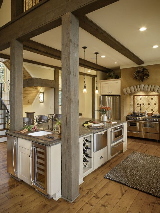Kitchen Island With A Fridge Cooler And Oven