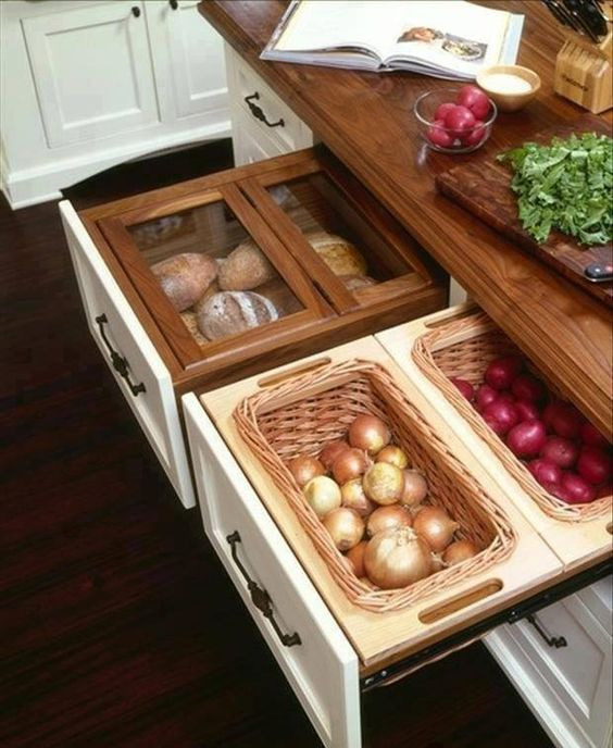 kitchen island with food storage