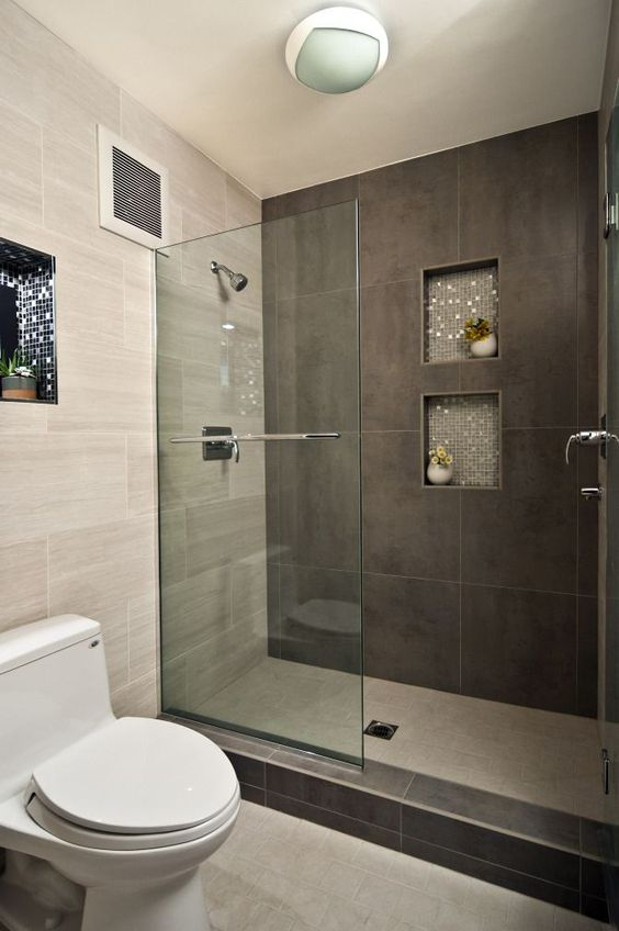 Picture of large scale dark brown shower tiles for Brown tile bathroom ideas