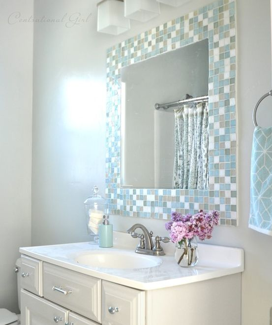 30-subtle-mosaic-tiles-around-the-mirror Bathroom Mirror Units
