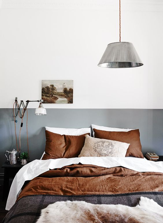 Lovely copper and white bedding