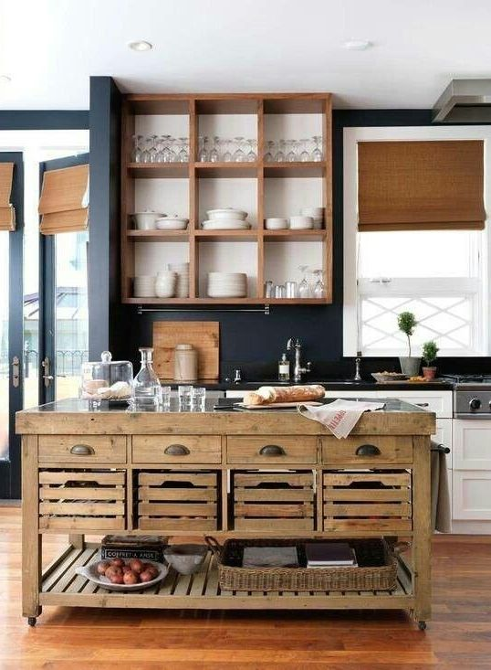 kitchen island with open food storage