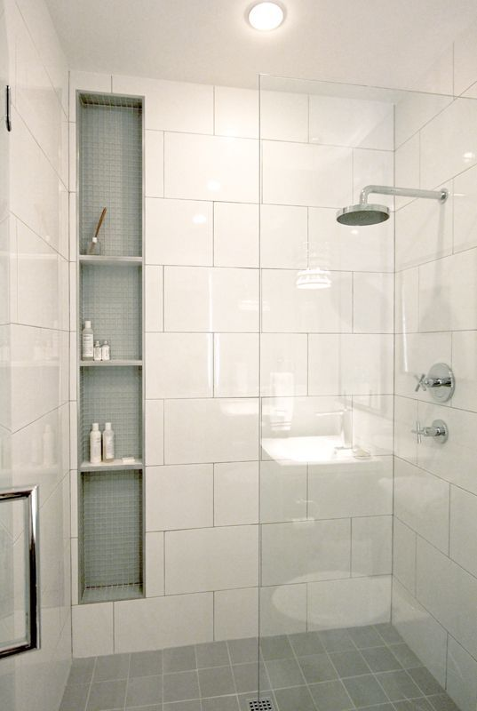 large scale white shower tiles