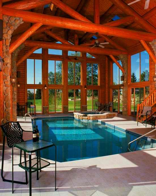 30 indoor swimming pools that will make you envy digsdigs - Cool log home interior designs guide ...