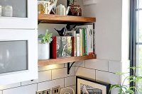 32 rustic open shelves