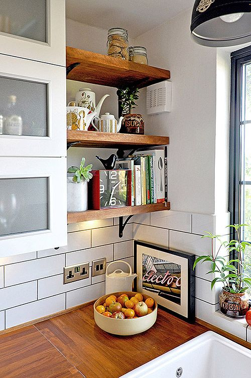 rustic open shelves