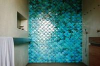 32 turquoise blue fish scale tiles