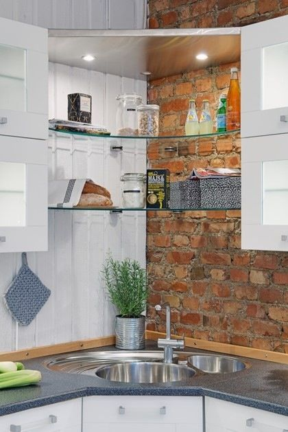 glass open shelving with lights