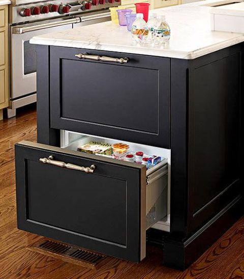 black kitchen island design with simple drawers