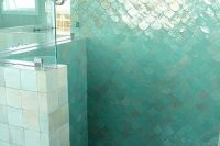 33 turquoise fish scale shower tiles