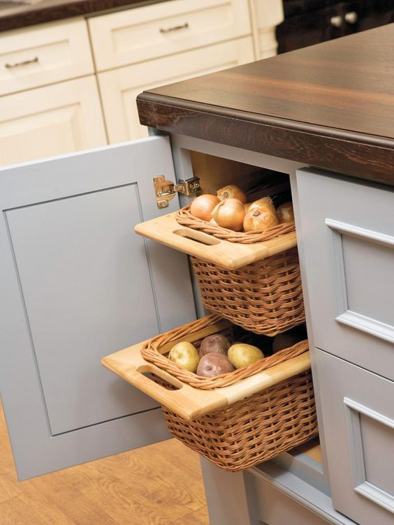 kitchen island with vegetable storage