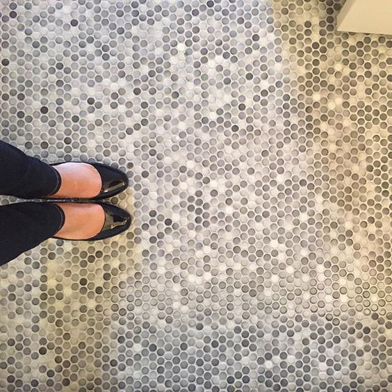 Luxury penny bathroom floor tiles