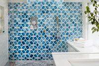 35 blue patterned mosaic shower tiles