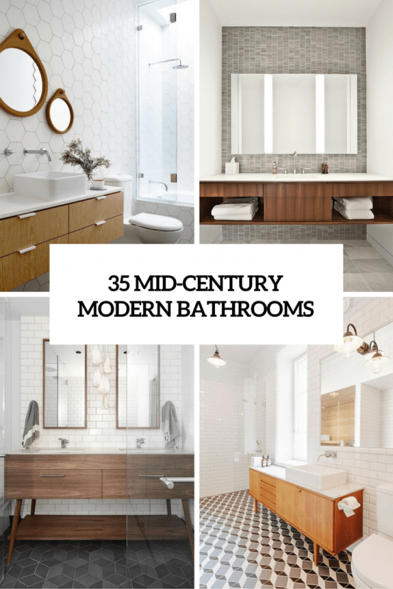 35 trendy mid century modern bathrooms to get inspired - Midcentury Bathroom 2016