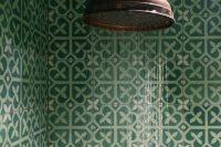 36 bold green patterned mosaic bathroom tiles