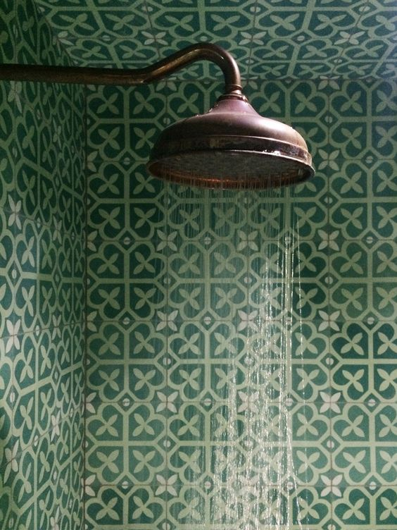 Picture Of Bold Green Patterned Mosaic Bathroom Tiles