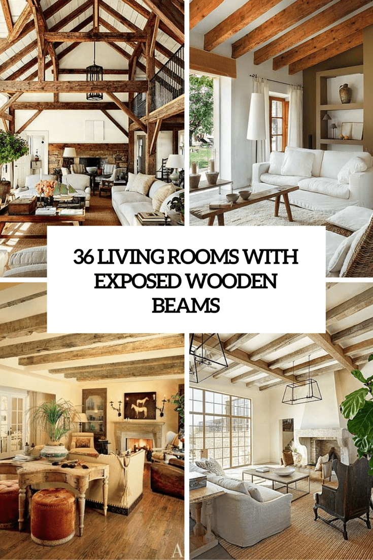 36 living room designs with wooden beams cover
