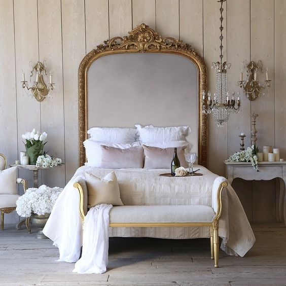 antique French mirror headboard