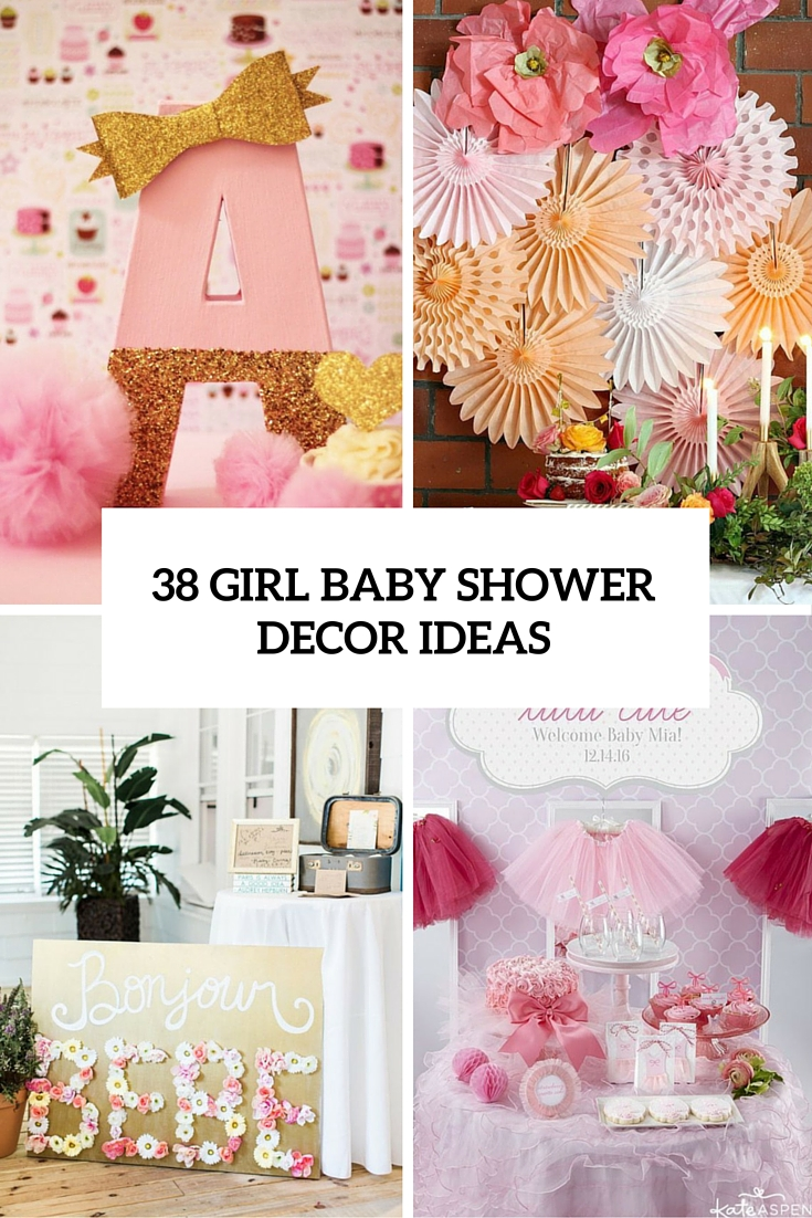 38 adorable girl baby shower decor ideas you ll like for Baby mural ideas