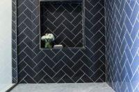 39 herringbone navy tiles