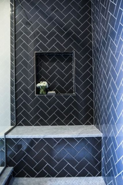herringbone navy tiles