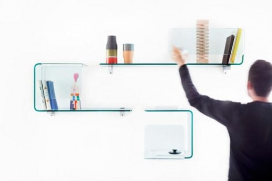 Cute D Foulard Shelves Of Transparent Glass