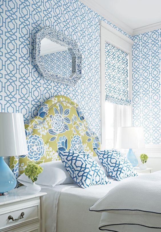 floral blue headboard